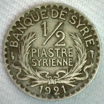 1921 Syria 1/2 Piastre Coin Middle East