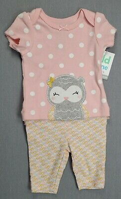 Baby Girl Clothes New Child Mine Carter's Newborn 2Pc Pink Gray Owl Outfit