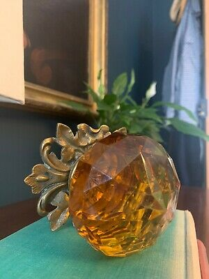 Antique Superb Large Early 19Th C Amber Brass Cut Glass Faceted Brass Door Knob