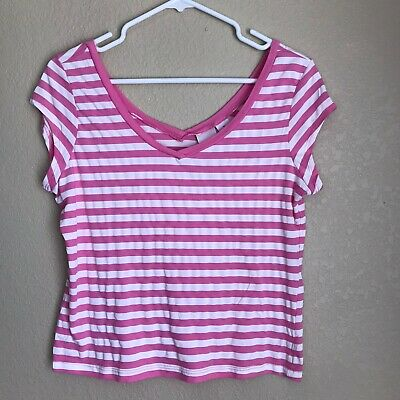 Xhilaration Pink & White Stripe V-neck Top, Ladies Size XL (Juniors)
