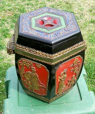 old chinese carved wooden covered lacquer box  gilt highlights+metal bands 16""