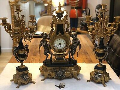 Clock Garniture Imperial Italy - Huge Louis Xiv Style Gilt Brass