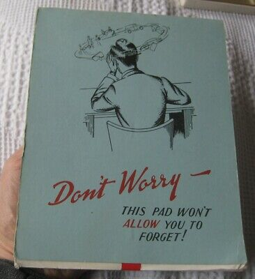 DON'T WORRY art deco era paper pad vintage1930s 1940s stationery item