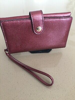 Coach Wallet Atlantic Burgundy Red Leather Metallic Cell Phone Wristlet