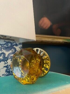 Antique Superb Early 19Th Century Amber Brass Cut Glass Faceted Brass Door Knob