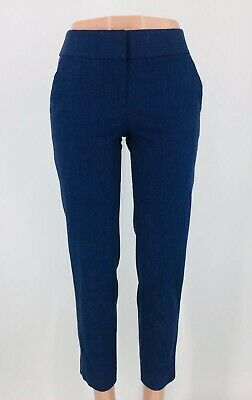 Ann Taylor Loft Size 2 Julie Stretch Linen Blend Career Ankle Pant Blue $69.50