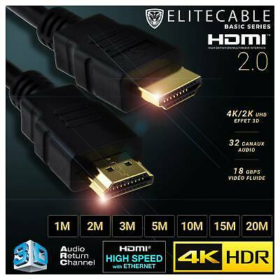 Cable HDMI 2.0 4K HDR UHD High Speed Ethernet 3D Audio ARC Lecteur Blu-Ray Xbox