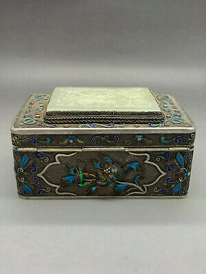 Antique Chinese Silver Enamel Flowers Box / Tea Caddy With Real Jade !! Rare