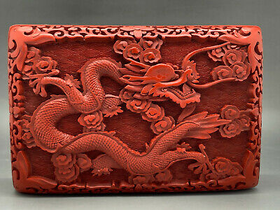 Antique Chinese Red Carved Cinnabar Dragon Motive Box - High Quality - Rare