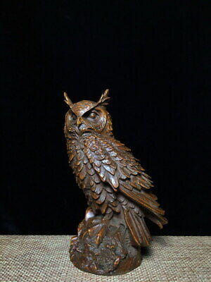 Collectable Handwork Exquisite Boxwood Carving Owl Auspicious Ancient Statue