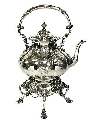 Very Fine Antique 19th c. REPOUSSE SILVER PLATED TILTING TEAPOT ON STAND