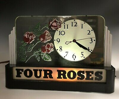 Vintage Deco Four Roses Whiskey Sign Advertising Glass Metal Lighted Clock SMS