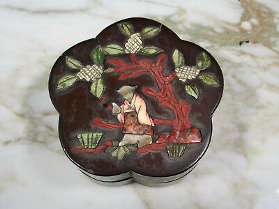 Small Antique Chinese Paper Mache Lacquered Covered Lobed Box Inlaid Stone Mop