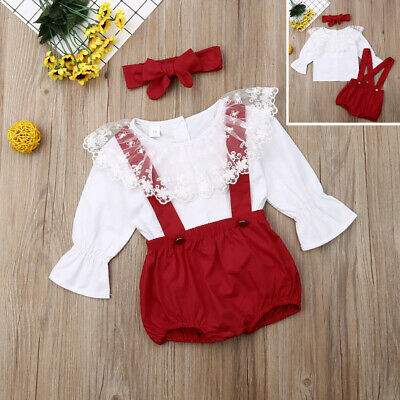 Toddler Baby Girls T-shirt Pants Headband Overalls Lace Infant Trousers outfits