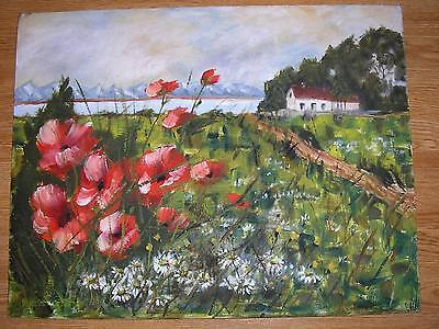 Vintage Impressionism Red Poppies Daisies Garden Pasture Landscape Oil Painting