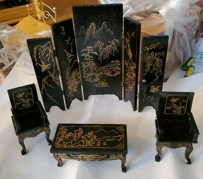 Vintage Black Lacquer Chinese Miniature Dollhouse furniture lot - 19 Pieces Wood