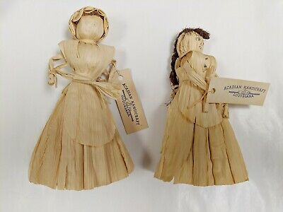 "Pair Primitive Corn Husk Folk Art Dolls 6"" Handmade Acadian Handicraft Vintage"
