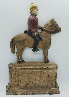 Vintage Mounted Military Canadian Mountie ? Horse Monument Door Stop Cast Iron