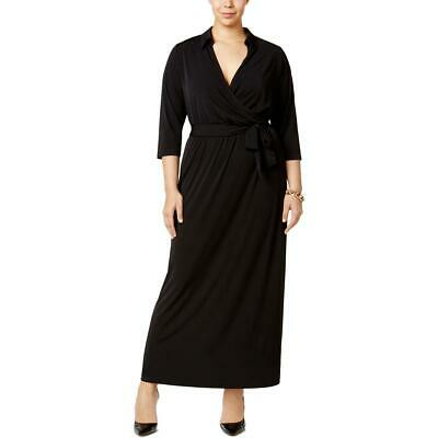 NY Collection Womens Black Faux-Wrap A-Line Casual Maxi Dress Plus 1X BHFO 3286