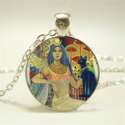 1pcs Egyptian Cat Goddess Tibet silver pendant chain Necklace For Women Jewelry
