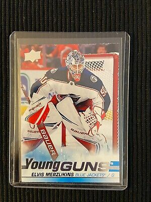 2019-20 UD Series 2 Young Guns RC Elvis Merzlikins Blue Jackets #466