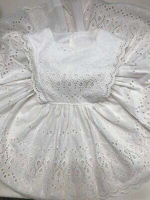 Vintage Baby Girl Pinafore Embroidered Dress White