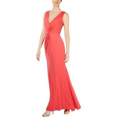 Calvin Klein Womens Red Knot-Front V-Neck Formal Evening Dress Gown 16 BHFO 9890