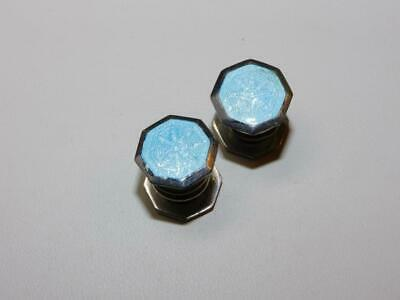Enamel Art Deco Cufflinks Kum a Part Blue some lines OLD PAIR