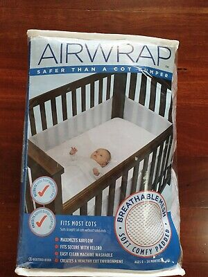 AIR WRAP Mesh Cot Bumper in excellent clean condition - WHITE