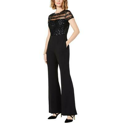 Adrianna Papell Womens Black Sequined Illusion Wide Leg Jumpsuit 8P BHFO 5007