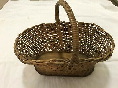 Vintage Cane Carry Basket 16 X 10 Inch