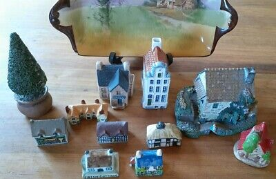 Collection Of 10 Miniature English Cottages + Fir Tree Wade Plus Others