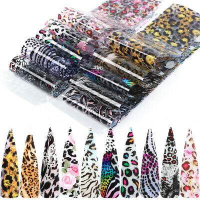 10 Sheets Nail Art Foils Stickers Leopard Print Flower Pattern Transfer Decals