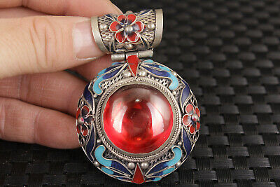 big rare tibet silver red jewel ston inlay cloisonne statue figure collectable