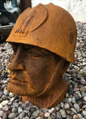 Large Cast Iron Bust of Benito Mussolini - Heavy 14kg - 32cm High - WW2 - WWII