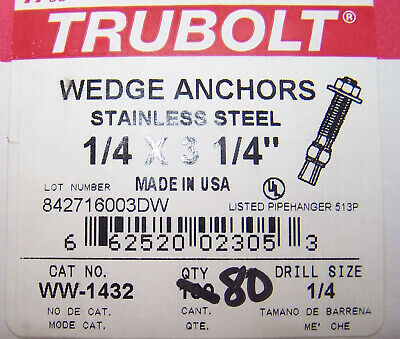 "red head Stainless steel wedge anchors  1/4 X 3 1/4"" Qty 80"