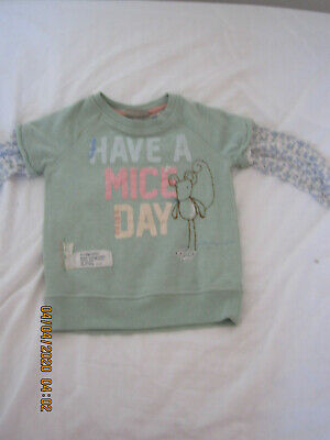Baby Girls Next jumper 3-4 years, mint green mouse top.