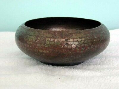 1915 Roycroft Mission Arts & Crafts Hammered + Stamped Copper Bowl Early Mark