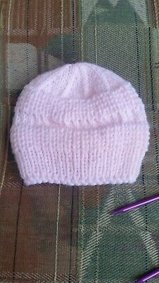 Brand New Hand Knitted Baby's Girl's Pink Sweetums Hat Size Newborn Approx,