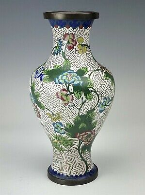 "9 1/4"" Chinese Export Enamel Cloisonne Brass Mount Multifloral Flower Vase SMS"