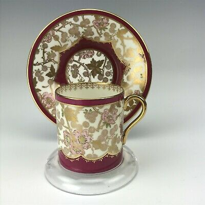 Shelley Fine English Bone China Painted Gold Floral Demitasse Cup Saucer Set VDW