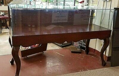 AWESOME Antique Display Case Mahogany w/ Storage Drawers, Lock & Led Lighting 6'