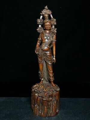 Collectable Decor Unique Boxwood Carving Tibet Buddha Exorcism Exquisite Statue