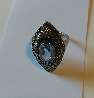 Good Quality Art Deco Silver  Marcasite and Blue Stone  Ring