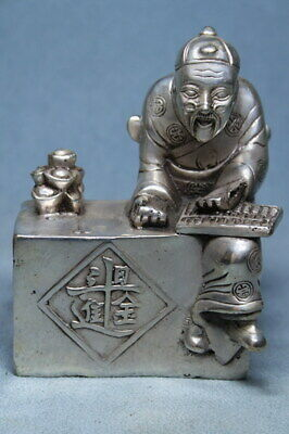 Exquisite Ancient Handwork Miao Silver Carving Account Old Man Atmosphere Statue