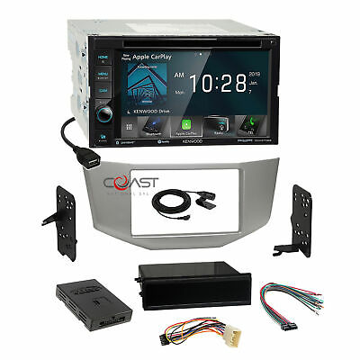 Kenwood DVD Sirius Carplay Stereo Silver Dash Kit Amp Harness for 04+ Lexus RX