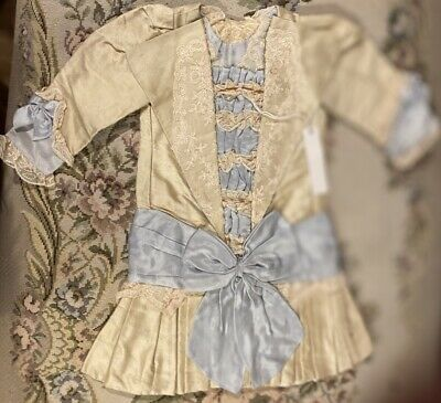 """Fine French Type Silky Doll Dress for 21"""" Antique Bisque Doll Orig Price $159!"""