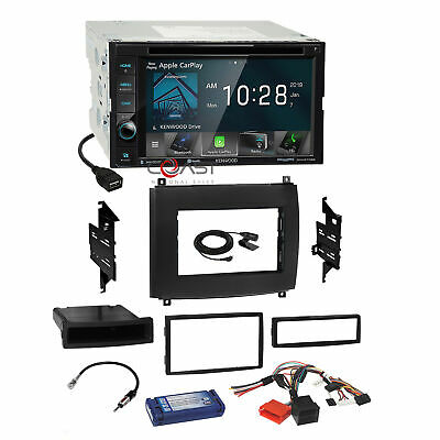 Kenwood DVD BT Carplay Stereo Dash Kit OnStar Harness for 03+ Cadillac CTS SRX