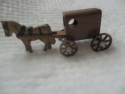 Small Hand Carved Wooden Amish Prairie Horse & Buggy Souvenir from Lancaster PA