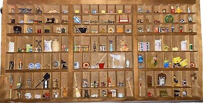 Antique Printers Drawer Tray Shadow Box With All Miniature Collectibles Lot